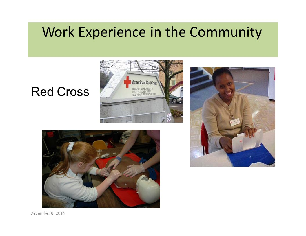Work Experience in the Community Red Cross December 8, 2014