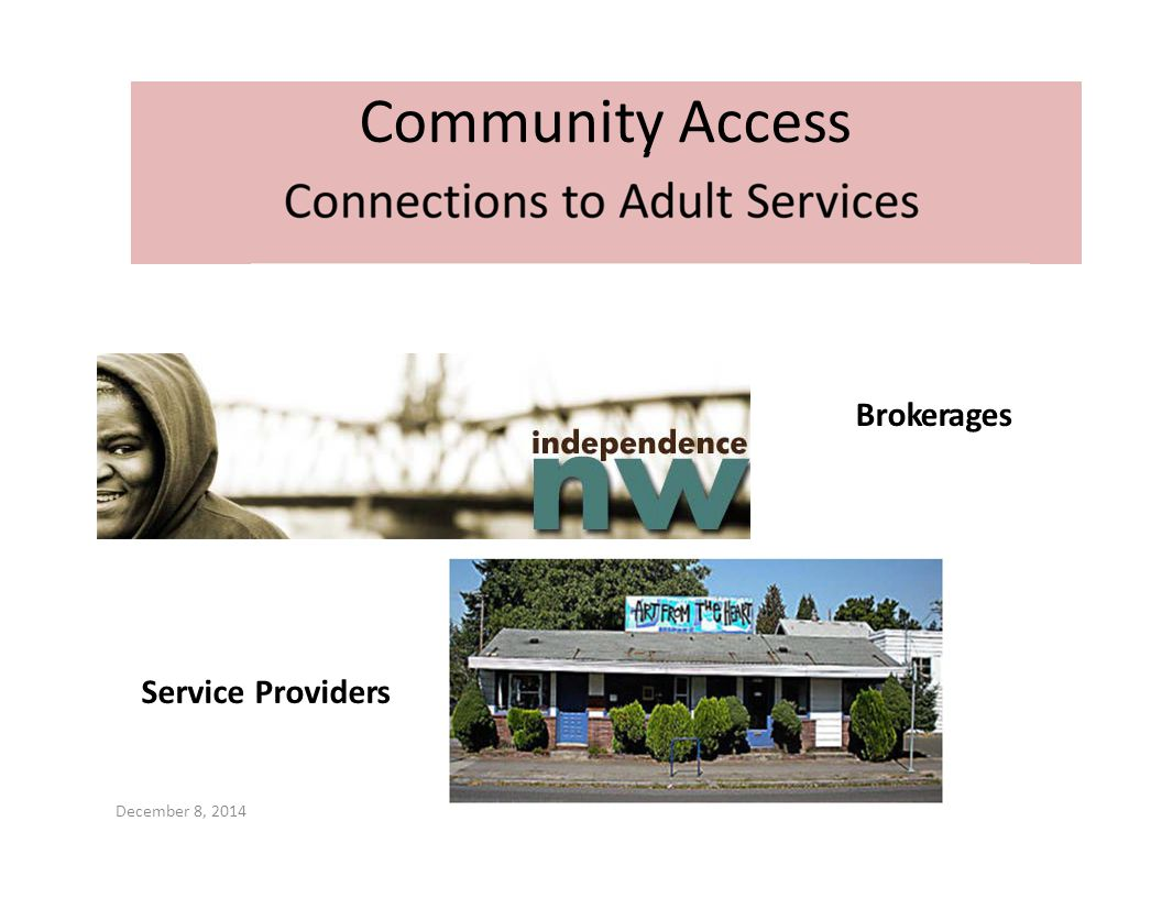 Community Access Brokerages Service Providers December 8, 2014