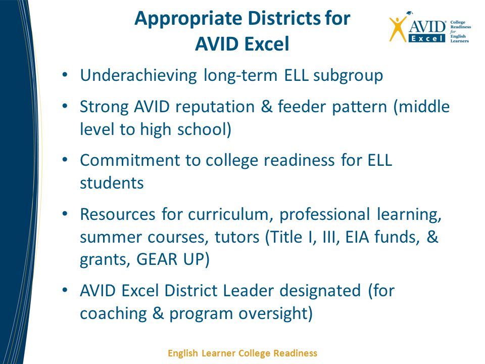 English Learner College Readiness Underachieving long-term ELL subgroup Strong AVID reputation & feeder pattern (middle level to high school) Commitment to college readiness for ELL students Resources for curriculum, professional learning, summer courses, tutors (Title I, III, EIA funds, & grants, GEAR UP) AVID Excel District Leader designated (for coaching & program oversight) Appropriate Districts for AVID Excel