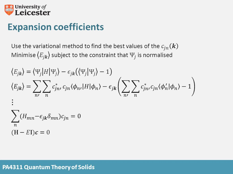 PA4311 Quantum Theory of Solids Expansion coefficients