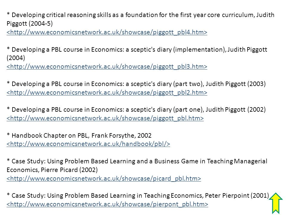 * Developing critical reasoning skills as a foundation for the first year core curriculum, Judith Piggott (2004-5) * Developing a PBL course in Econom
