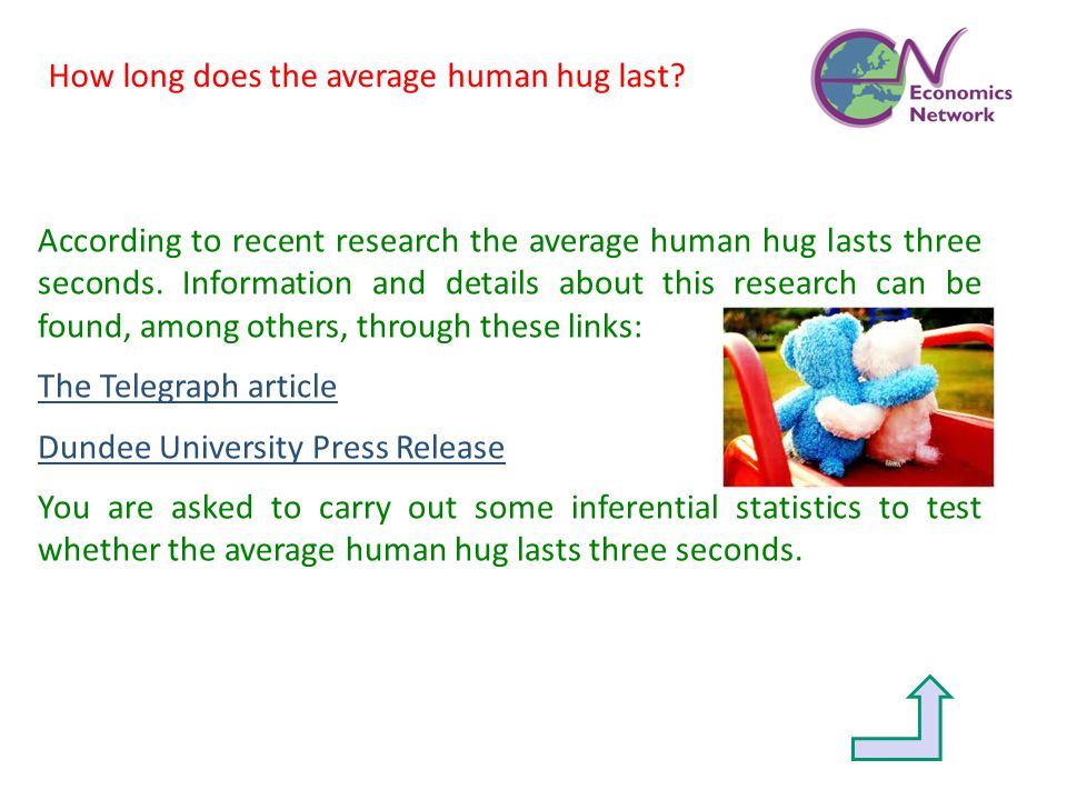 According to recent research the average human hug lasts three seconds. Information and details about this research can be found, among others, throug
