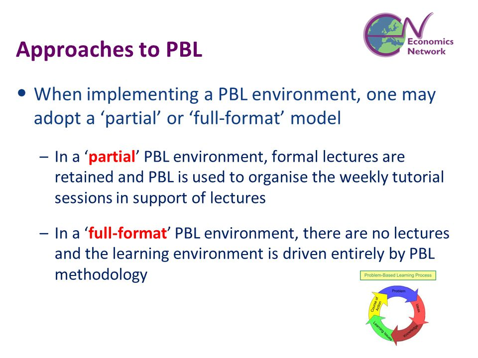 Approaches to PBL When implementing a PBL environment, one may adopt a 'partial' or 'full-format' model –In a 'partial' PBL environment, formal lectur