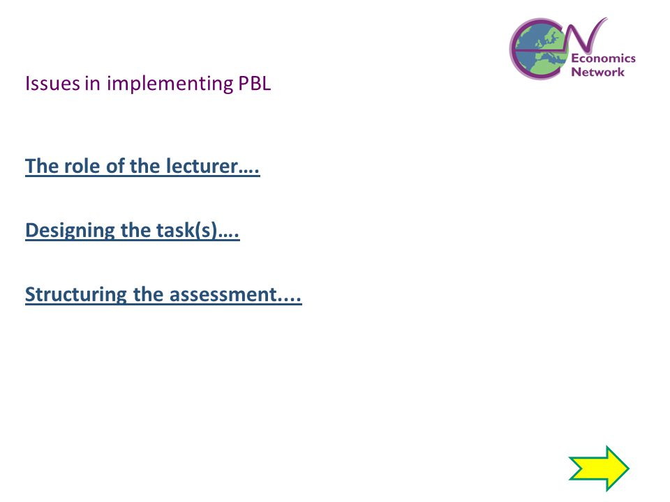Issues in implementing PBL The role of the lecturer…. Designing the task(s)…. Structuring the assessment....