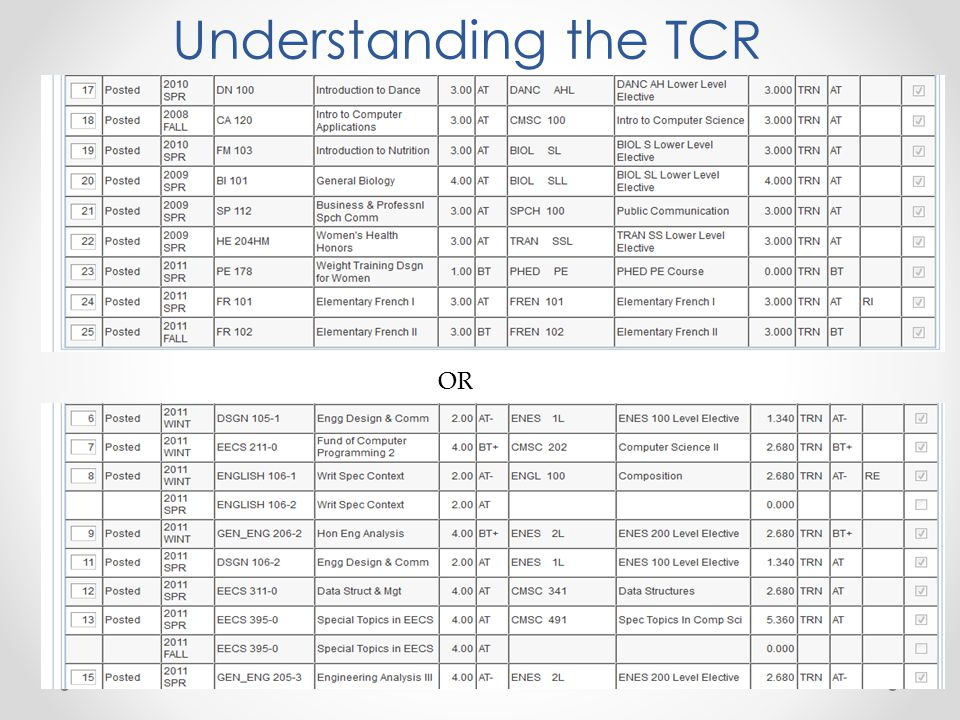 OR Understanding the TCR