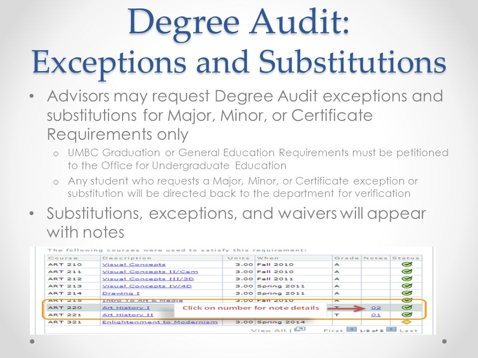 Degree Audit: Exceptions and Substitutions Advisors may request Degree Audit exceptions and substitutions for Major, Minor, or Certificate Requirements only o UMBC Graduation or General Education Requirements must be petitioned to the Office for Undergraduate Education o Any student who requests a Major, Minor, or Certificate exception or substitution will be directed back to the department for verification Substitutions, exceptions, and waivers will appear with notes