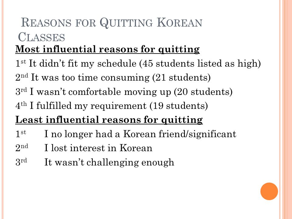 R EASONS FOR Q UITTING K OREAN C LASSES Most influential reasons for quitting 1 st It didn't fit my schedule (45 students listed as high) 2 nd It was too time consuming (21 students) 3 rd I wasn't comfortable moving up (20 students) 4 th I fulfilled my requirement (19 students) Least influential reasons for quitting 1 st I no longer had a Korean friend/significant 2 nd I lost interest in Korean 3 rd It wasn't challenging enough