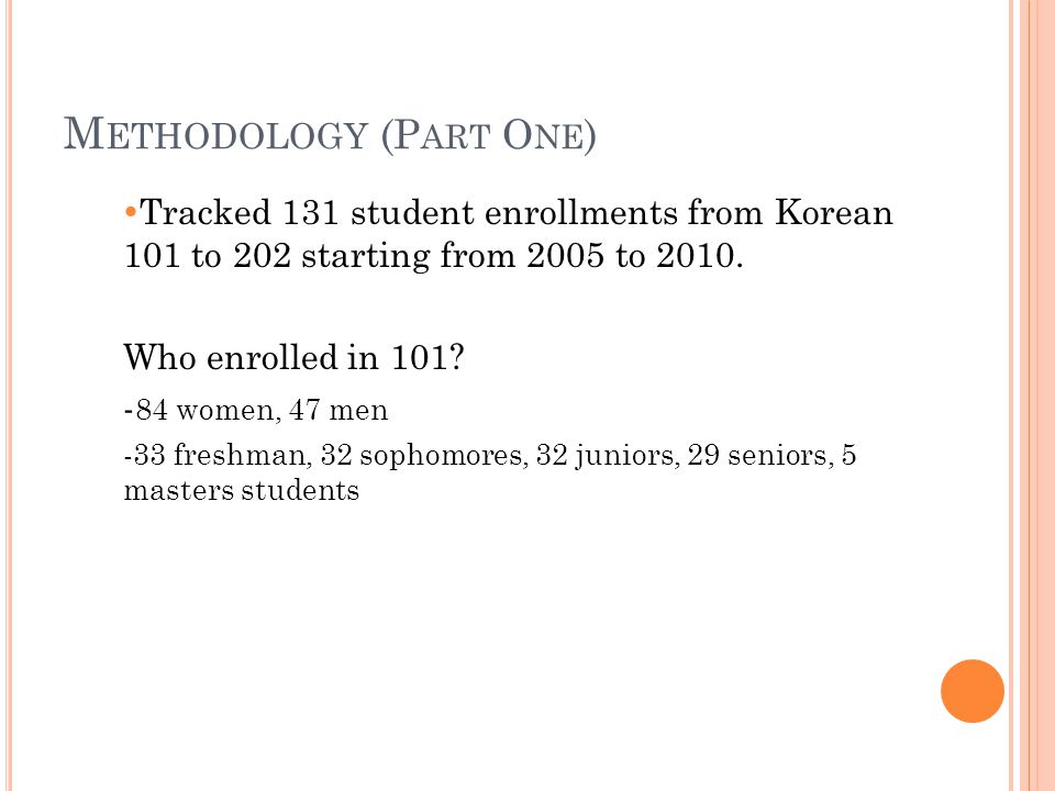 M ETHODOLOGY (P ART O NE )  Tracked 131 student enrollments from Korean 101 to 202 starting from 2005 to 2010.