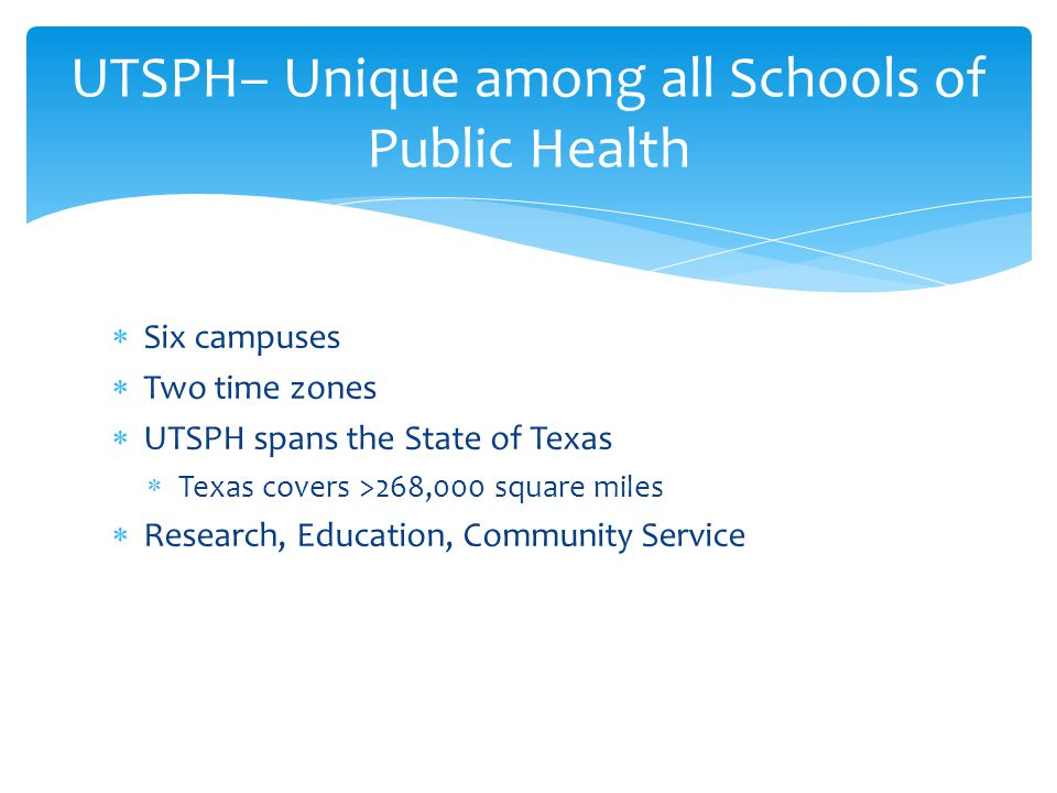 UTSPH– Unique among all Schools of Public Health  Six campuses  Two time zones  UTSPH spans the State of Texas  Texas covers >268,000 square miles  Research, Education, Community Service