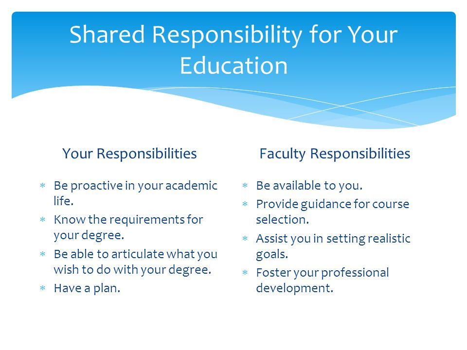 Shared Responsibility for Your Education Your Responsibilities  Be proactive in your academic life.