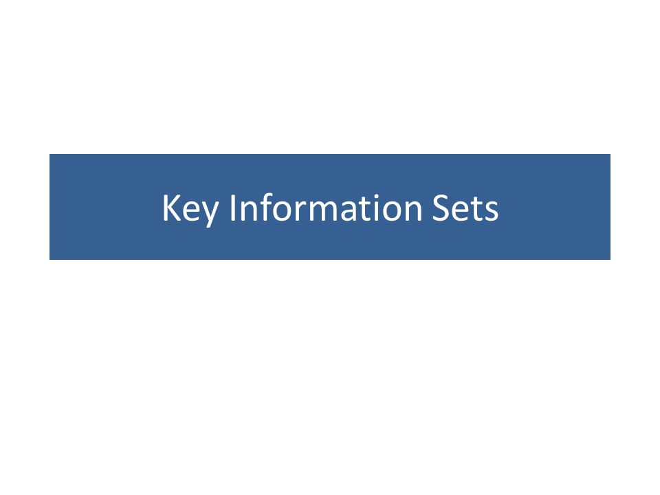 Key Information Sets