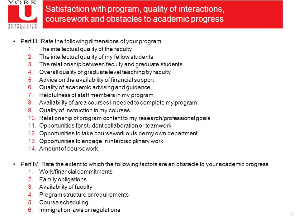 6 Satisfaction with program, quality of interactions, coursework and obstacles to academic progress Part III: Rate the following dimensions of your program 1.The intellectual quality of the faculty 2.The intellectual quality of my fellow students 3.The relationship between faculty and graduate students 4.Overall quality of graduate level teaching by faculty 5.Advice on the availability of financial support 6.Quality of academic advising and guidance 7.Helpfulness of staff members in my program 8.Availability of area courses I needed to complete my program 9.Quality of instruction in my courses 10.Relationship of program content to my research/professional goals 11.Opportunities for student collaboration or teamwork 12.Opportunities to take coursework outside my own department 13.Opportunities to engage in interdisciplinary work 14.Amount of coursework Part IV: Rate the extent to which the following factors are an obstacle to your academic progress 1.Work/financial commitments 2.Family obligations 3.Availability of faculty 4.Program structure or requirements 5.Course scheduling 6.Immigration laws or regulations