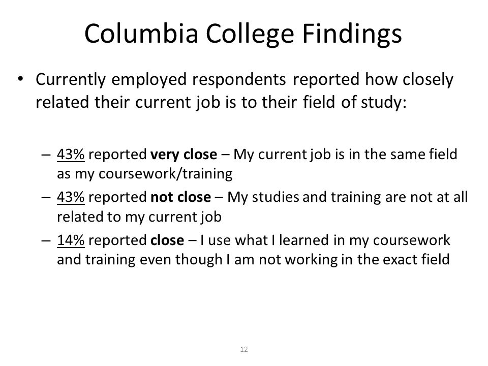 Columbia College Findings Currently employed respondents reported how closely related their current job is to their field of study: – 43% reported very close – My current job is in the same field as my coursework/training – 43% reported not close – My studies and training are not at all related to my current job – 14% reported close – I use what I learned in my coursework and training even though I am not working in the exact field 12