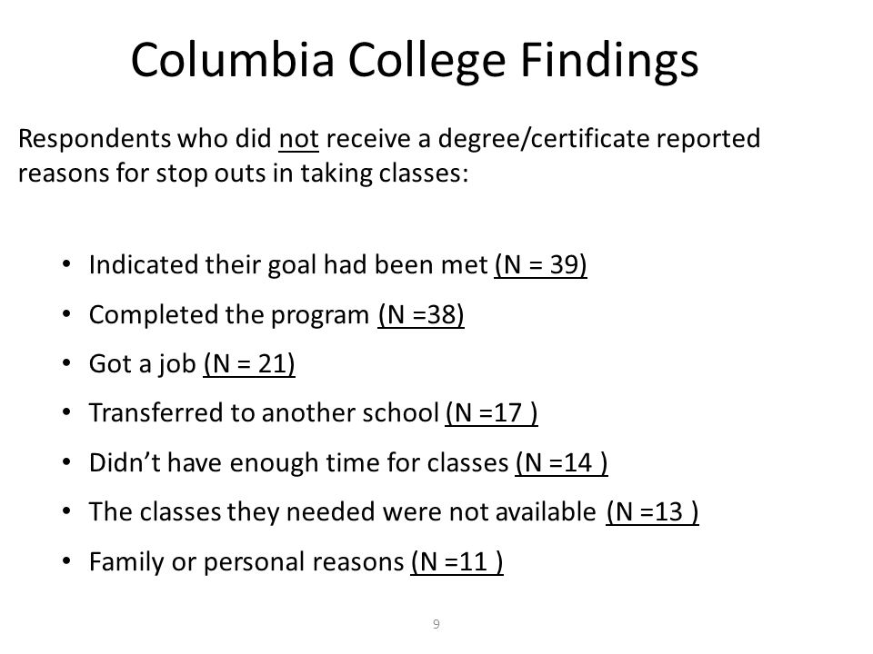 Columbia College Findings Respondents who did not receive a degree/certificate reported reasons for stop outs in taking classes: Indicated their goal had been met (N = 39) Completed the program (N =38) Got a job (N = 21) Transferred to another school (N =17 ) Didn't have enough time for classes (N =14 ) The classes they needed were not available (N =13 ) Family or personal reasons (N =11 ) 9