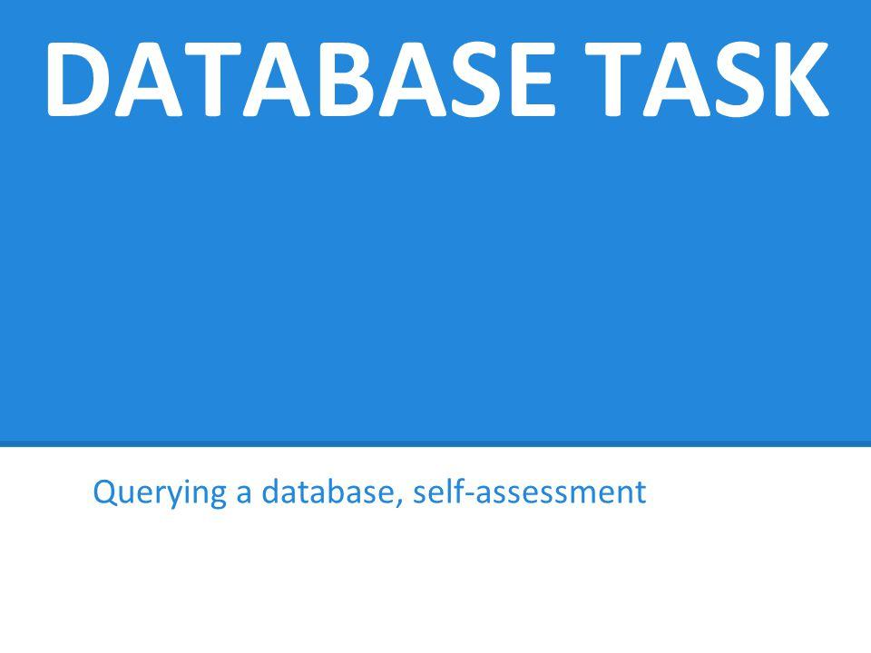 DATABASE TASK Querying a database, self-assessment