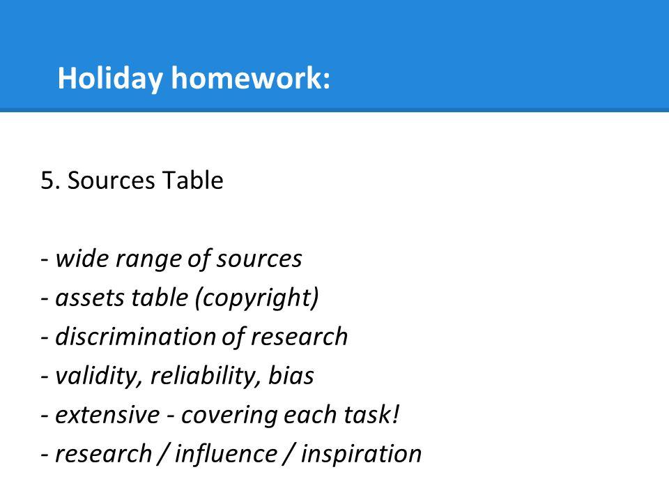 Holiday homework: 5.