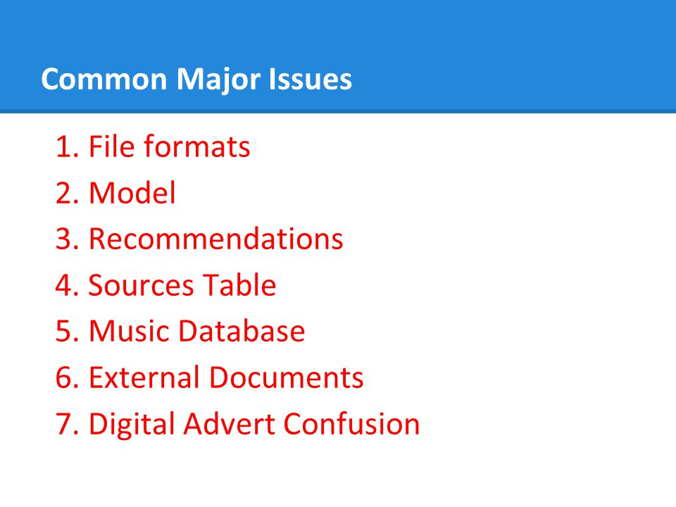 Common Major Issues 1.File formats 2. Model 3. Recommendations 4.