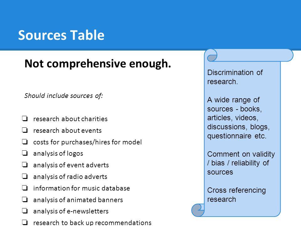 Sources Table Not comprehensive enough.