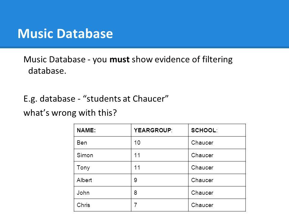 Music Database Music Database - you must show evidence of filtering database.
