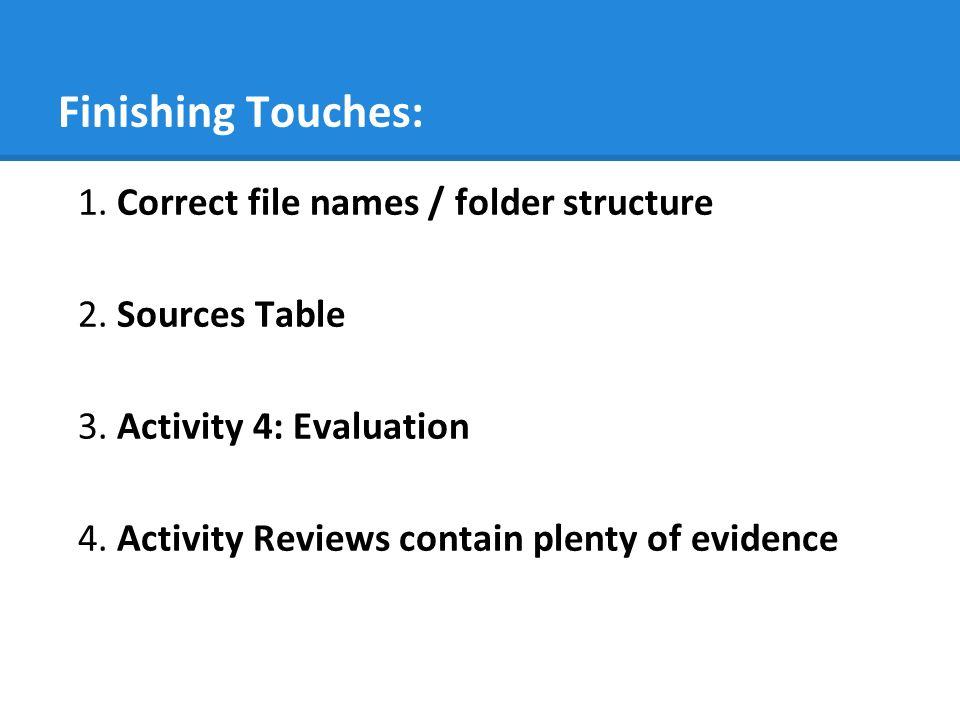 Finishing Touches: 1.Correct file names / folder structure 2.