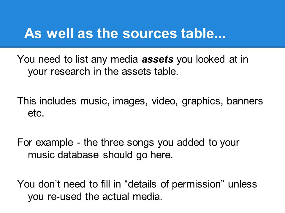 As well as the sources table... You need to list any media assets you looked at in your research in the assets table. This includes music, images, vid