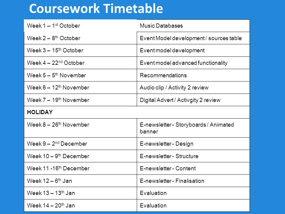 Coursework Timetable Week 1 – 1 st OctoberMusic Databases Week 2 – 8 th OctoberEvent Model development / sources table Week 3 – 15 th OctoberEvent mod