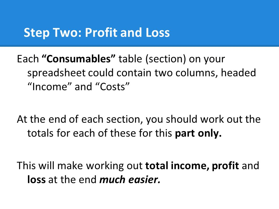 Step Two: Profit and Loss Each Consumables table (section) on your spreadsheet could contain two columns, headed Income and Costs At the end of each section, you should work out the totals for each of these for this part only.