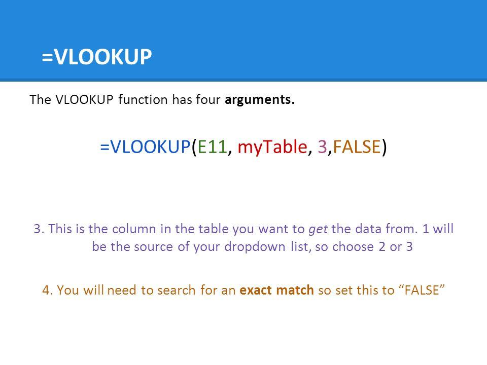 =VLOOKUP The VLOOKUP function has four arguments.=VLOOKUP(E11, myTable, 3,FALSE) 3.
