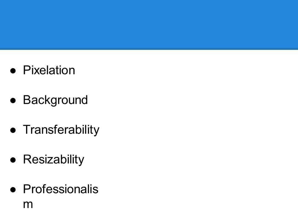 ●Pixelation ●Background ●Transferability ●Resizability ●Professionalis m