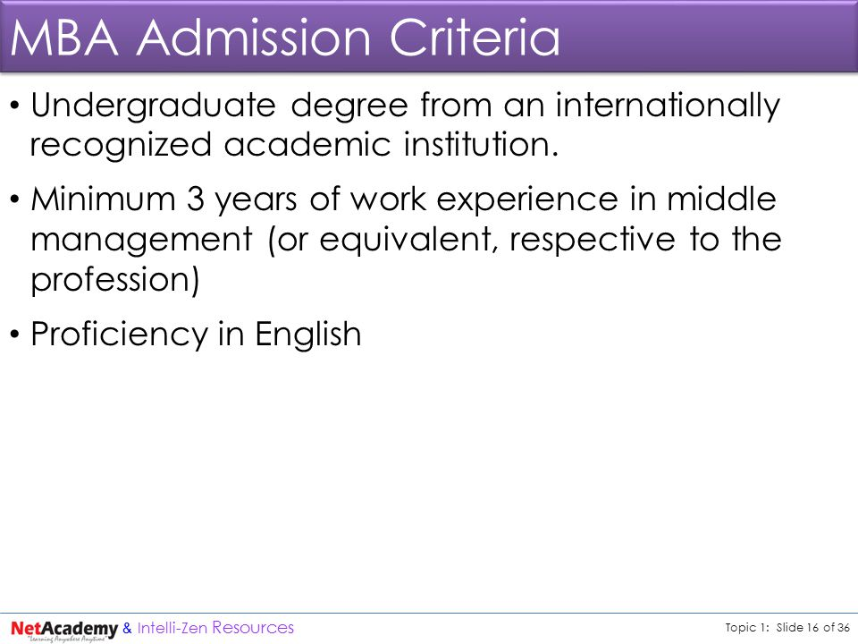 Topic 1: Slide 16 of 36 & Intelli-Zen Resources MBA Admission Criteria Undergraduate degree from an internationally recognized academic institution.