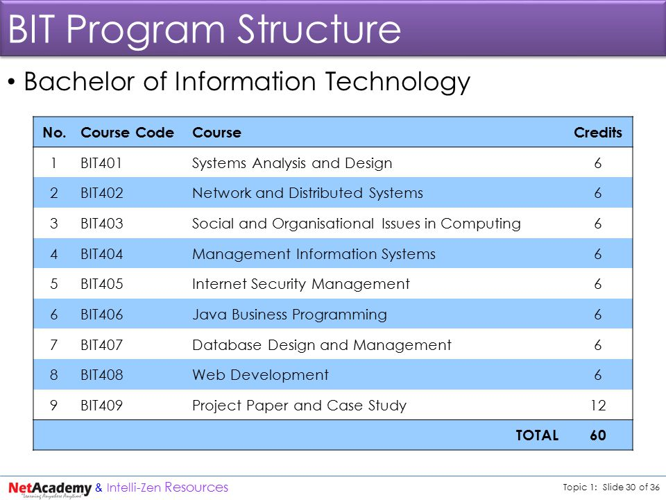 Topic 1: Slide 30 of 36 & Intelli-Zen Resources BIT Program Structure Bachelor of Information Technology No.Course CodeCourseCredits 1BIT401Systems Analysis and Design6 2BIT402Network and Distributed Systems6 3BIT403Social and Organisational Issues in Computing6 4BIT404Management Information Systems6 5BIT405Internet Security Management6 6BIT406Java Business Programming6 7BIT407Database Design and Management6 8BIT408Web Development6 9BIT409Project Paper and Case Study12 TOTAL60