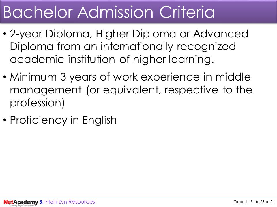 Topic 1: Slide 35 of 36 & Intelli-Zen Resources Bachelor Admission Criteria 2-year Diploma, Higher Diploma or Advanced Diploma from an internationally recognized academic institution of higher learning.