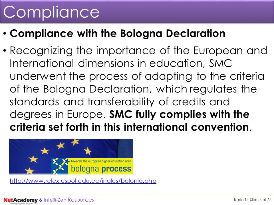 Topic 1: Slide 6 of 36 & Intelli-Zen Resources Compliance Compliance with the Bologna Declaration Recognizing the importance of the European and International dimensions in education, SMC underwent the process of adapting to the criteria of the Bologna Declaration, which regulates the standards and transferability of credits and degrees in Europe.