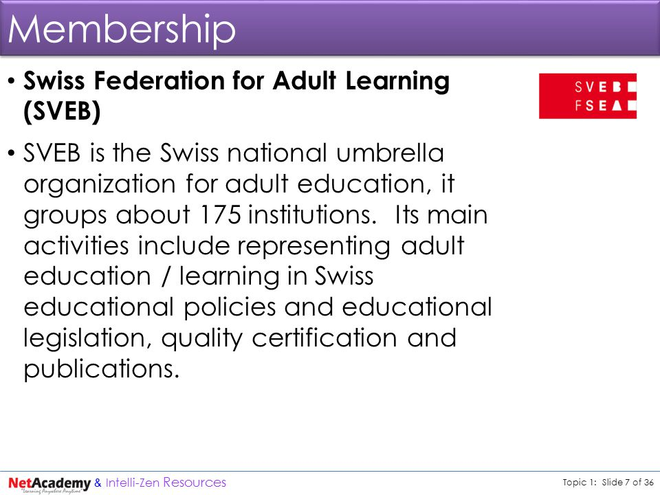 Topic 1: Slide 7 of 36 & Intelli-Zen Resources Membership Swiss Federation for Adult Learning (SVEB) SVEB is the Swiss national umbrella organization for adult education, it groups about 175 institutions.