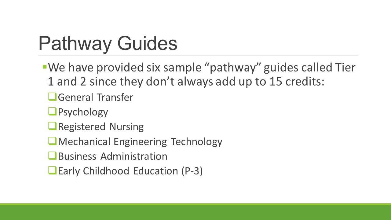 "Pathway Guides  We have provided six sample ""pathway"" guides called Tier 1 and 2 since they don't always add up to 15 credits:  General Transfer  P"