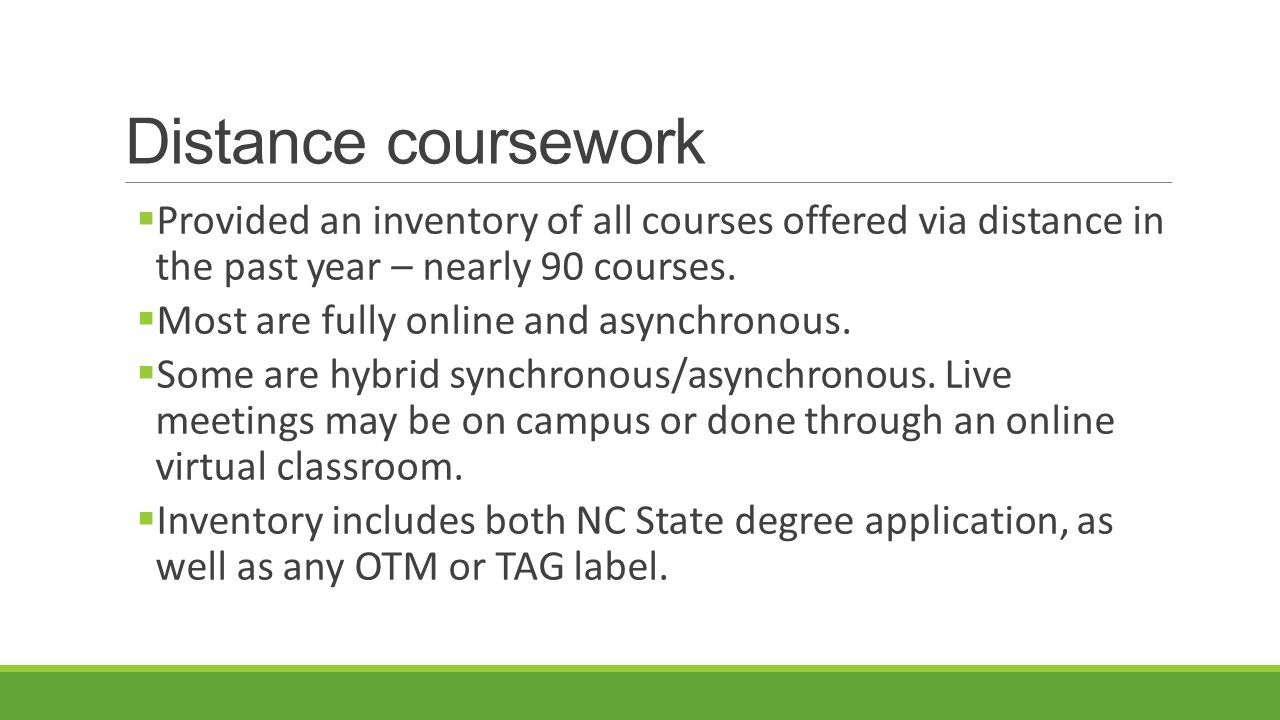 Distance coursework  Provided an inventory of all courses offered via distance in the past year – nearly 90 courses.