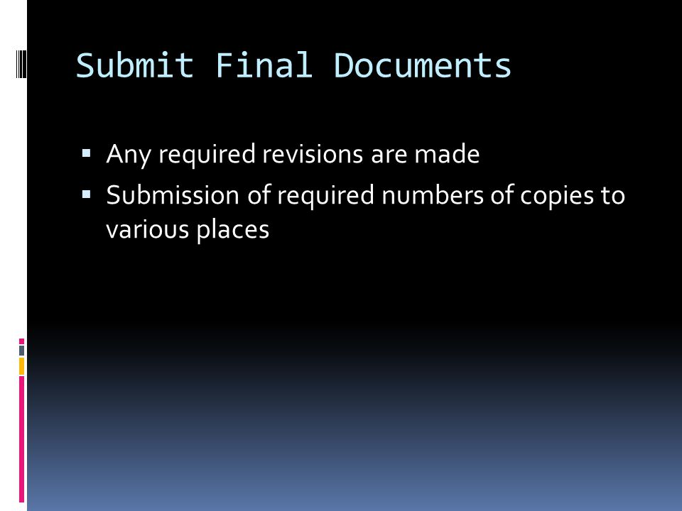 Submit Final Documents  Any required revisions are made  Submission of required numbers of copies to various places