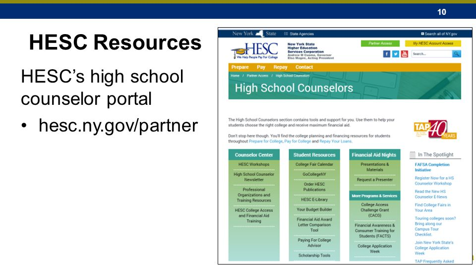 10 HESC Resources HESC's high school counselor portal hesc.ny.gov/partner