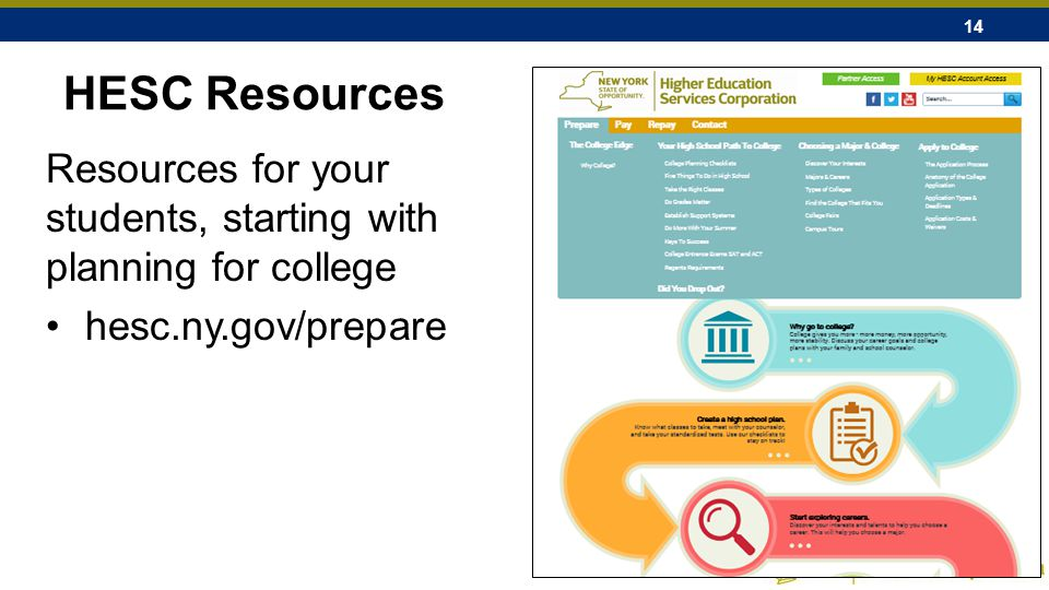 14 HESC Resources Resources for your students, starting with planning for college hesc.ny.gov/prepare