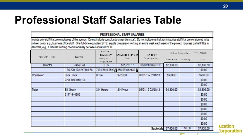 20 Professional Staff Salaries Table NYGEAR UP Matching TOTAL Position TitleName Full-time equivalent assigned to NYGEAR UP Annualized Rate of Pay Period of Employment Salary Assignable to NYGEAR UP