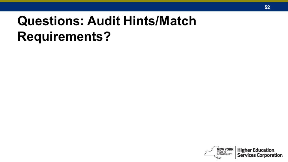 52 Questions: Audit Hints/Match Requirements