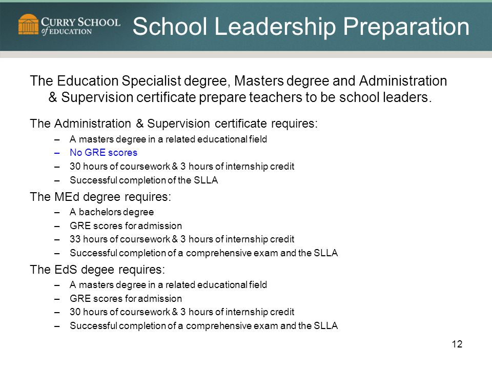School Leadership Preparation The Education Specialist degree, Masters degree and Administration & Supervision certificate prepare teachers to be school leaders.