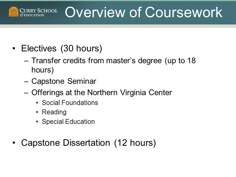 Overview of Coursework Electives (30 hours) –Transfer credits from master's degree (up to 18 hours) –Capstone Seminar –Offerings at the Northern Virginia Center Social Foundations Reading Special Education Capstone Dissertation (12 hours)