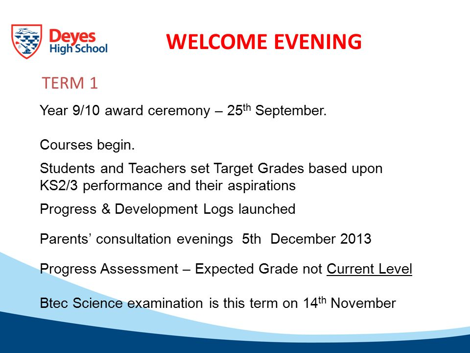 WELCOME EVENING Year 9/10 award ceremony – 25 th September.