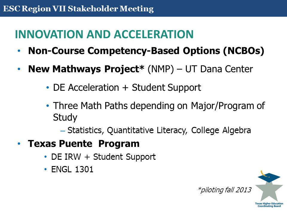 17 INNOVATION AND ACCELERATION Non-Course Competency-Based Options (NCBOs) New Mathways Project* (NMP) – UT Dana Center DE Acceleration + Student Support Three Math Paths depending on Major/Program of Study – Statistics, Quantitative Literacy, College Algebra Texas Puente Program DE IRW + Student Support ENGL 1301 *piloting fall 2013 ESC Region VII Stakeholder Meeting