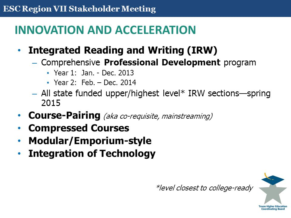 18 INNOVATION AND ACCELERATION Integrated Reading and Writing (IRW) – Comprehensive Professional Development program Year 1: Jan.
