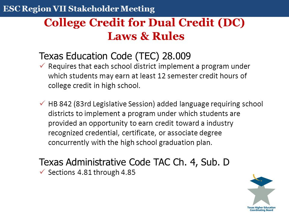 College Credit for Dual Credit (DC) Laws & Rules Texas Education Code (TEC) 28.009 Requires that each school district implement a program under which