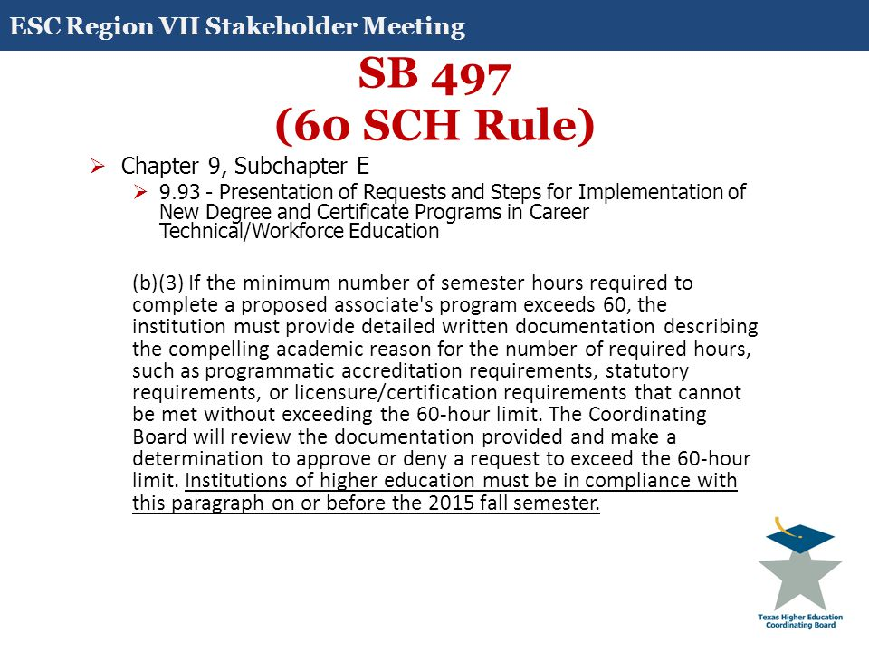 SB 497 (60 SCH Rule)  Chapter 9, Subchapter E  9.93 - Presentation of Requests and Steps for Implementation of New Degree and Certificate Programs in Career Technical/Workforce Education (b)(3) If the minimum number of semester hours required to complete a proposed associate s program exceeds 60, the institution must provide detailed written documentation describing the compelling academic reason for the number of required hours, such as programmatic accreditation requirements, statutory requirements, or licensure/certification requirements that cannot be met without exceeding the 60-hour limit.