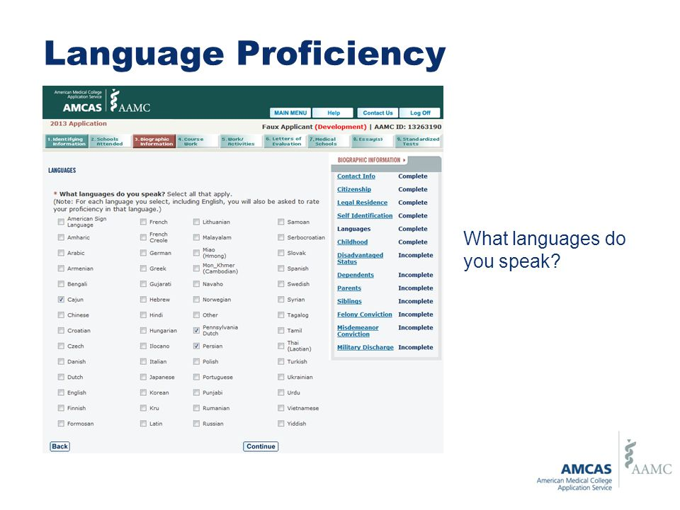 Language Proficiency What languages do you speak?