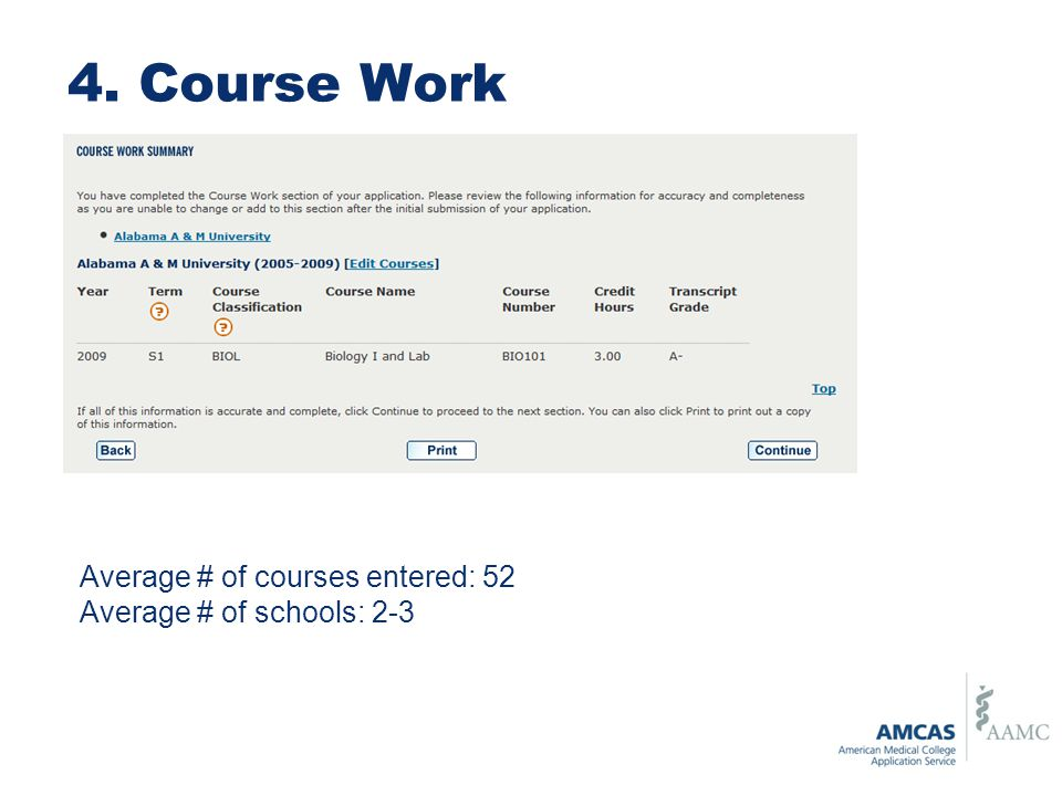 4. Course Work Average # of courses entered: 52 Average # of schools: 2-3